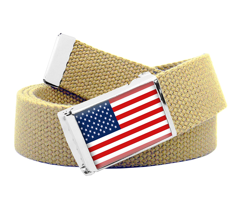 American Flag Flip Top Mens Belt Buckle with Canvas Web Belt