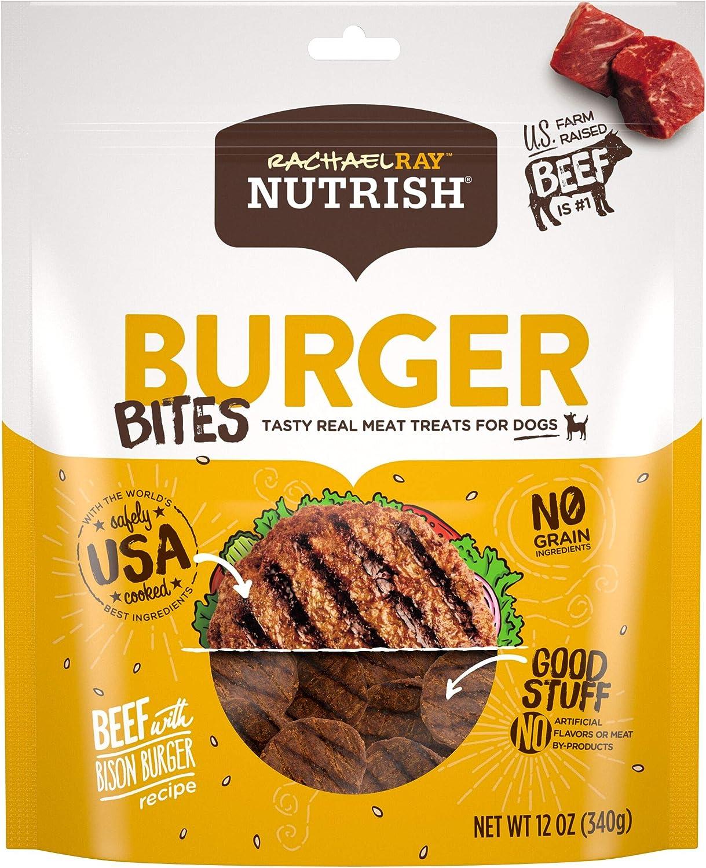 Amazon Com Rachael Ray Nutrish Burger Bites Real Meat Dog Treats Beef Burger With Bison Recipe 12 Ounces Grain Free Pet Supplies