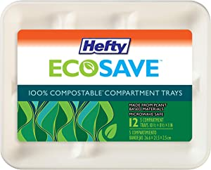 Hefty ECOSAVE 100% Compostable 5-Compartment Paper Trays, 12 Count