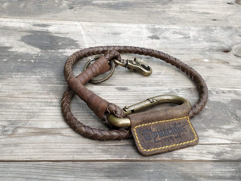Trip Machine Company Leather Braided Keychain Tobacco Brown