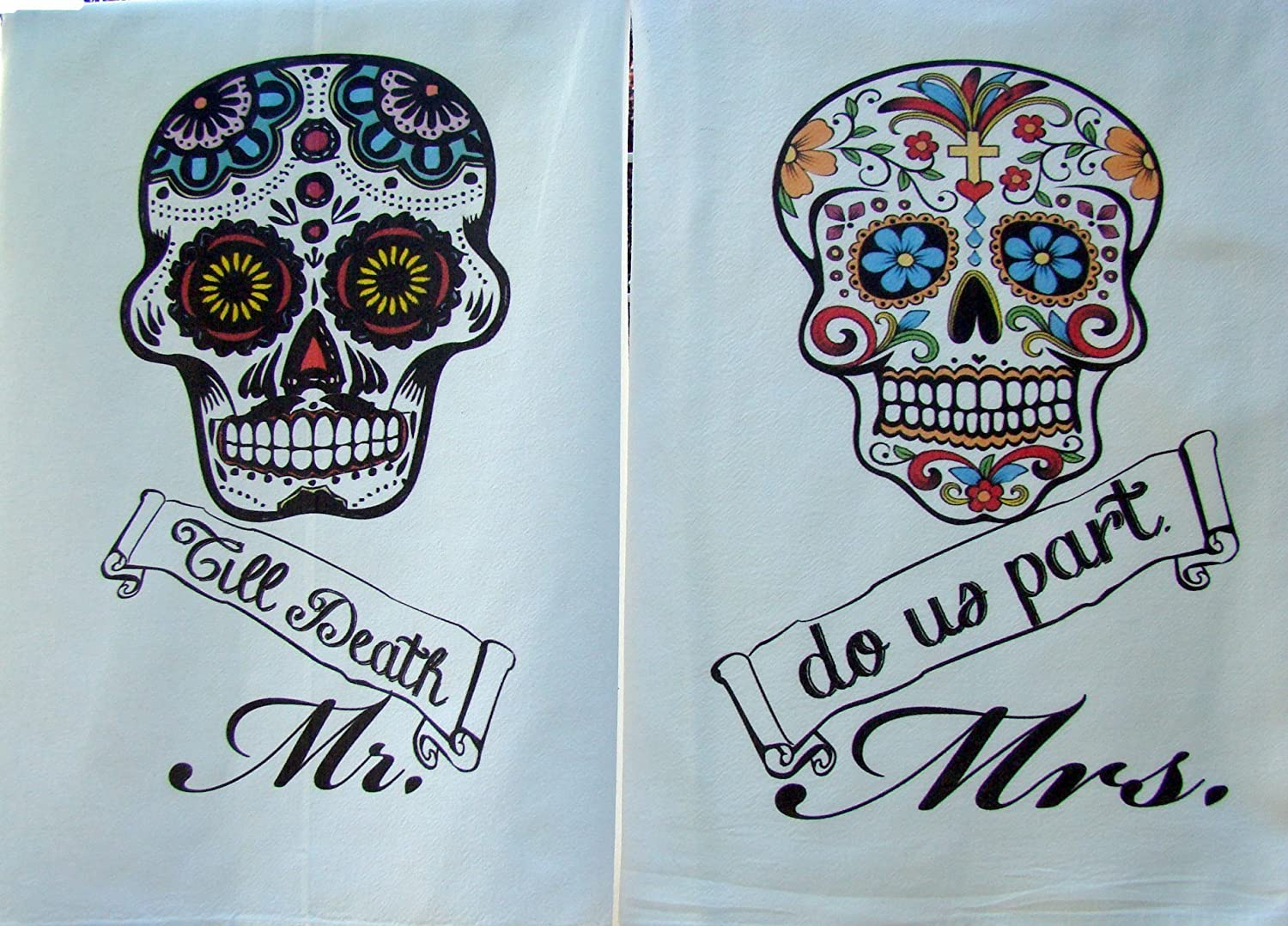Dia De Los Muertos Day of the dead flour sack towel set graphic printed handmade