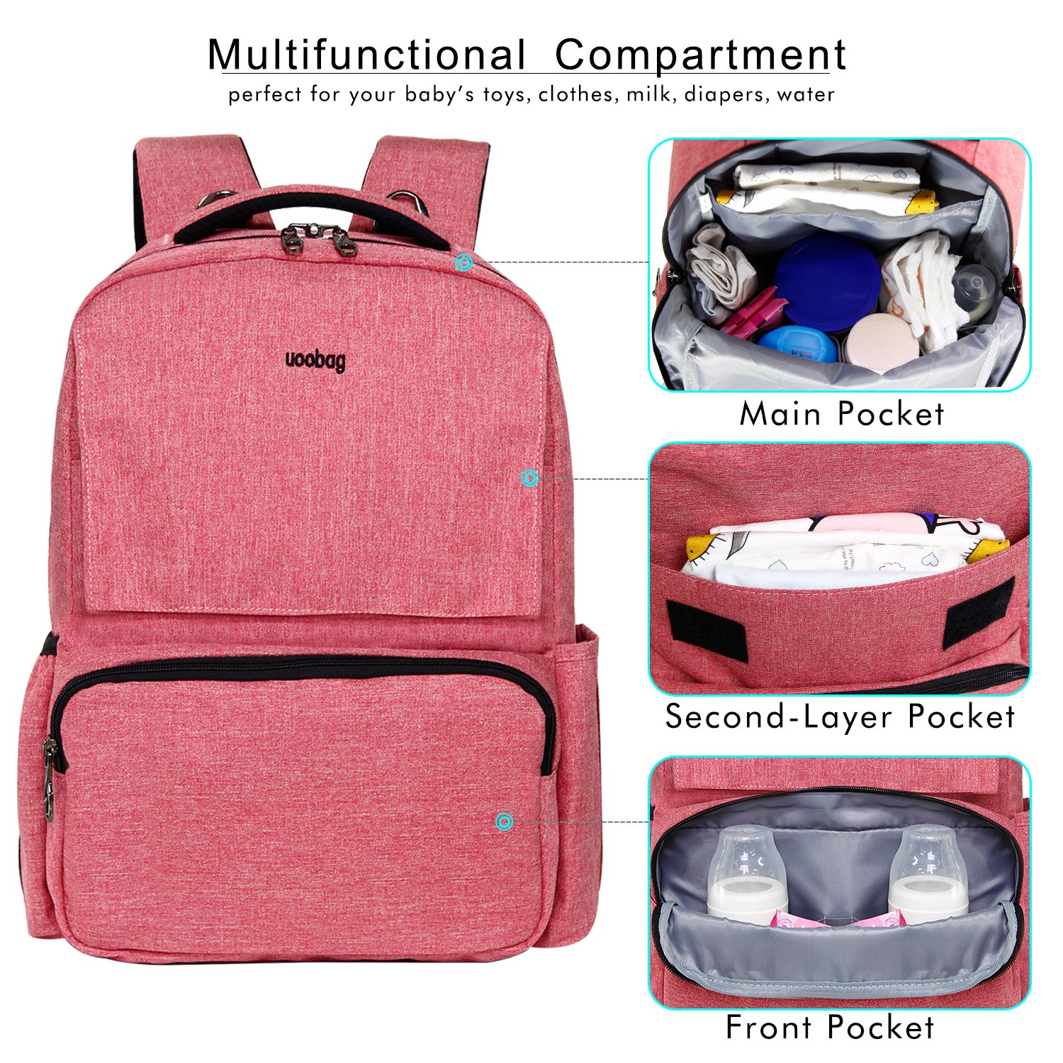 Diaper Bag Backpack Multi-Function Nappy Bags for Baby Care Waterproof Travel Back Pack Large Capacity Baby Bag Organizer with Stroller Straps Stylish and Durable Pink