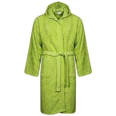 Wkds Men 100 Cotton Green Terry Towel Bathrobe Hooded Shawl Collar