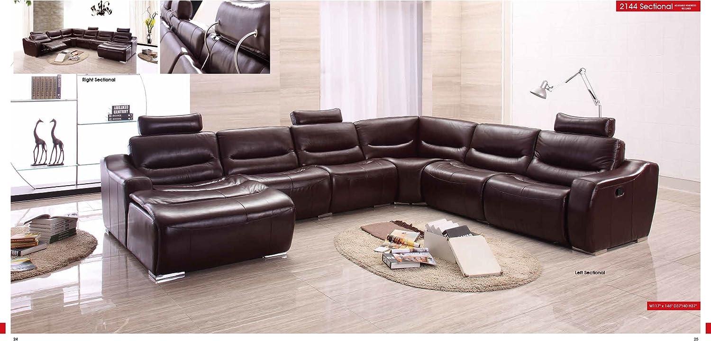 - Amazon.com: ESF Modern 2144 Brown Italian Leather Sectional Sofa W