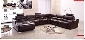 Amazon.com: ESF Modern 2144 Brown Italian Leather Sectional ...