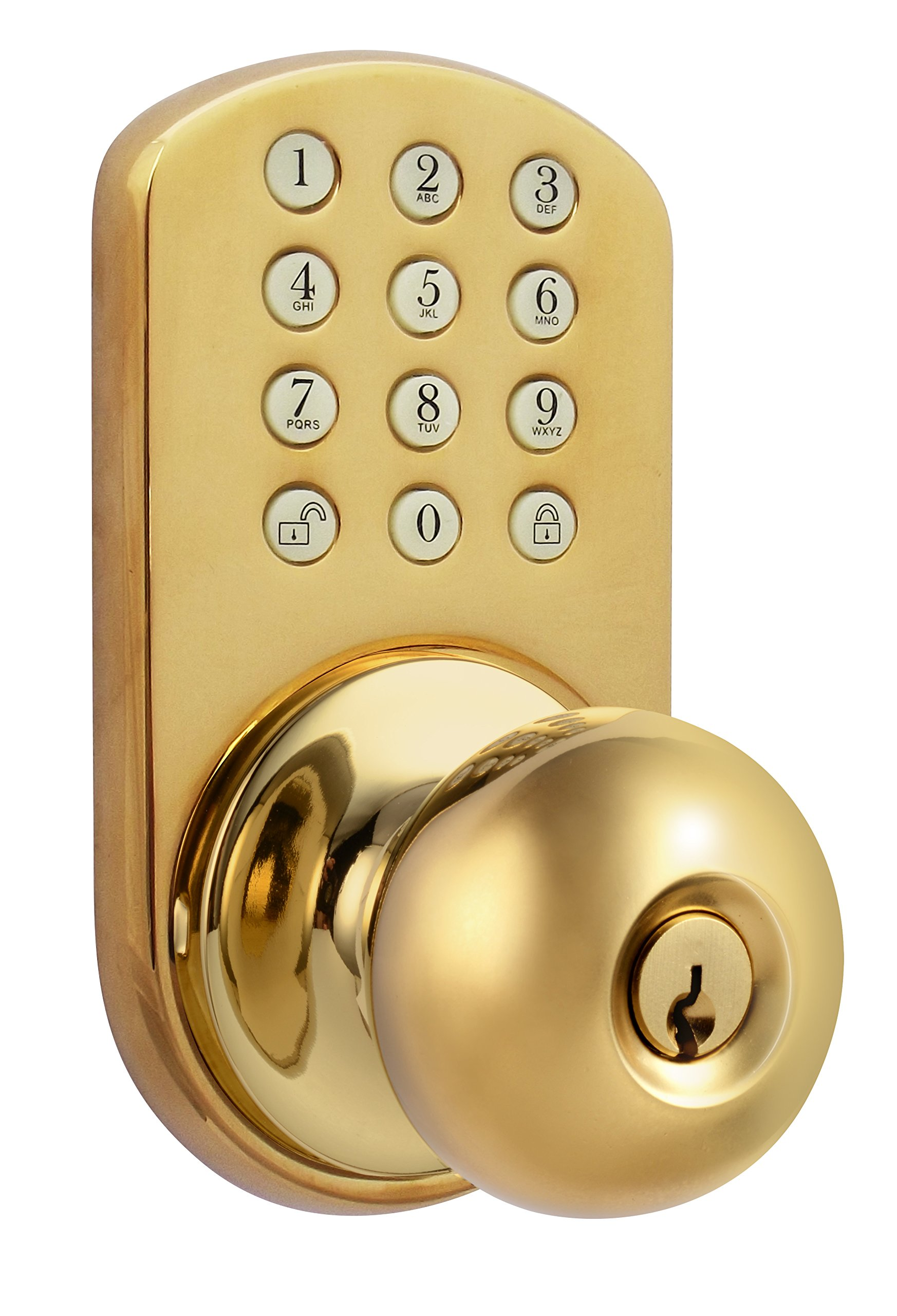 MiLocks TKK-02P Digital Door Knob Lock with Electronic Keypad for Interior Doors, Polished Brass