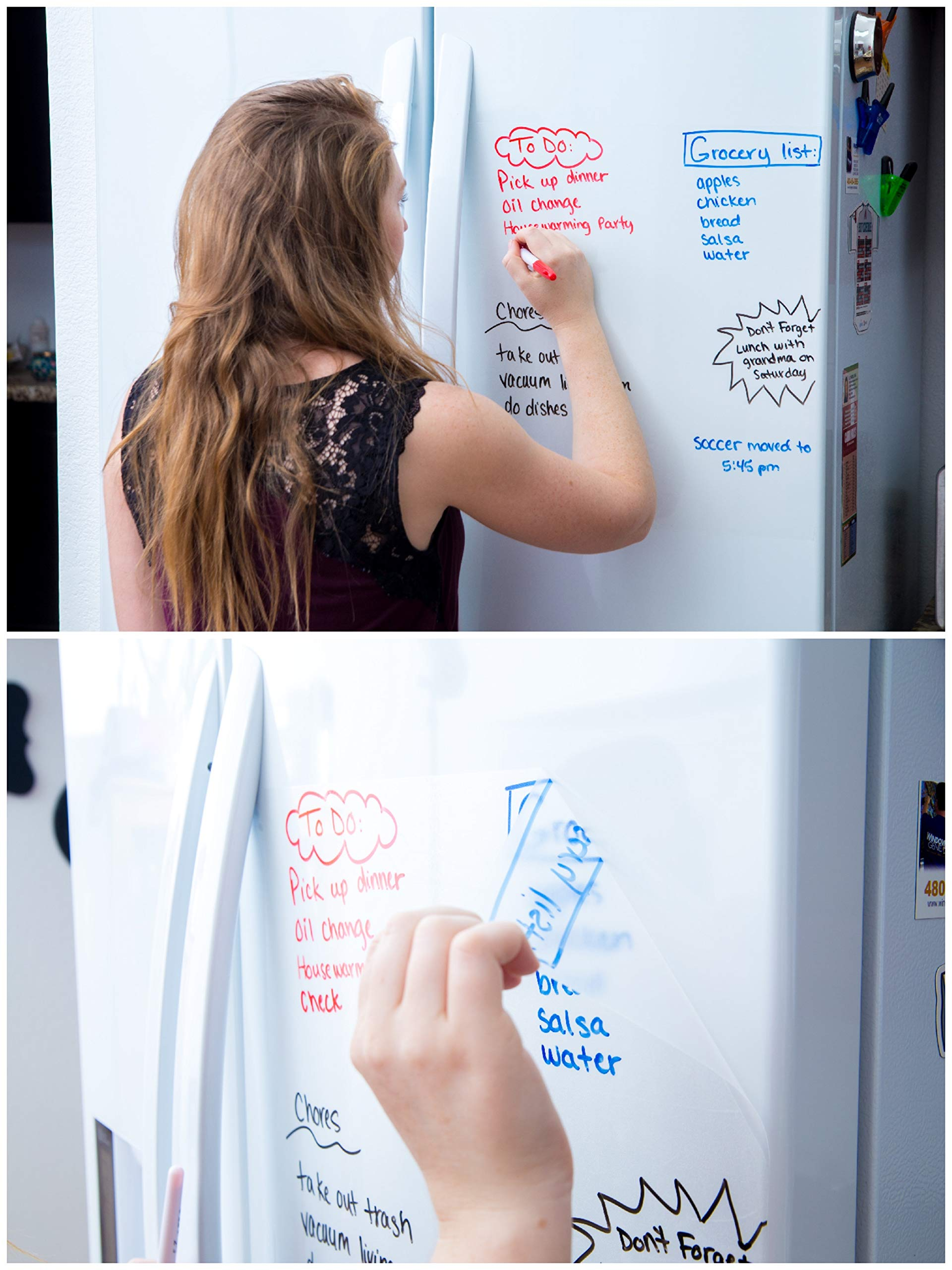 """Kassa Clear Dry Erase Board Sticker - 18'' x 78"""" (6.5 Feet) - 3 Dry-Erase Board Markers Included - Transparent White Board Film for Refrigerator, Desk, Office - Glass Whiteboard for Wall Alternative by Kassa (Image #2)"""