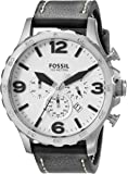 Fossil Men's JR1485 Nate Stainless Steel Watch with Black Leather Band