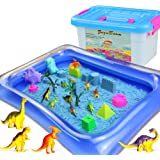 ZUZU BOOM Play Sand Toys and Sand Molds Kit - Set Includes: 2 Pound Play Sand, 42 Pieces Sand Molds, Dinosaur Toys, Inflatabl