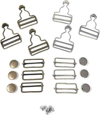 Chris.W Overall Buckles Suspenders Replacement Buckle with Rectangle Buckle Sliding /& No-Sew Buttons for 1.5 Inch Straps Pack of 2 Sets Nickel and 2 Sets Antique Brass