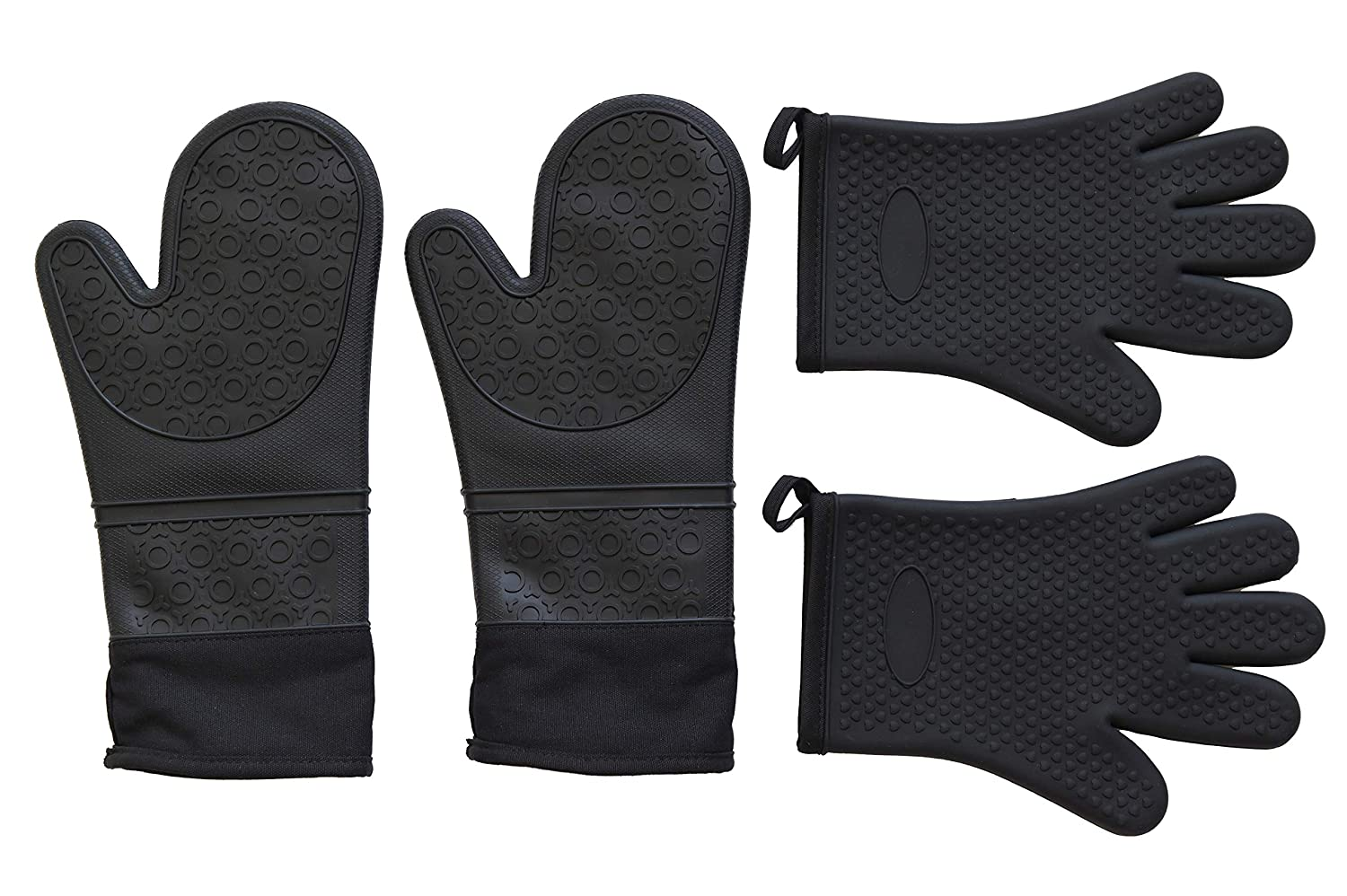 Q's INN Silicone Pot Holders with Quilted Liner Heavy Duty Heat Resistant -40°F - 460°F Non Slip Textured Grip Food Grade No Odor No Staining and 2 with one and 2 with 5 Fingers Oven Mitts Black.