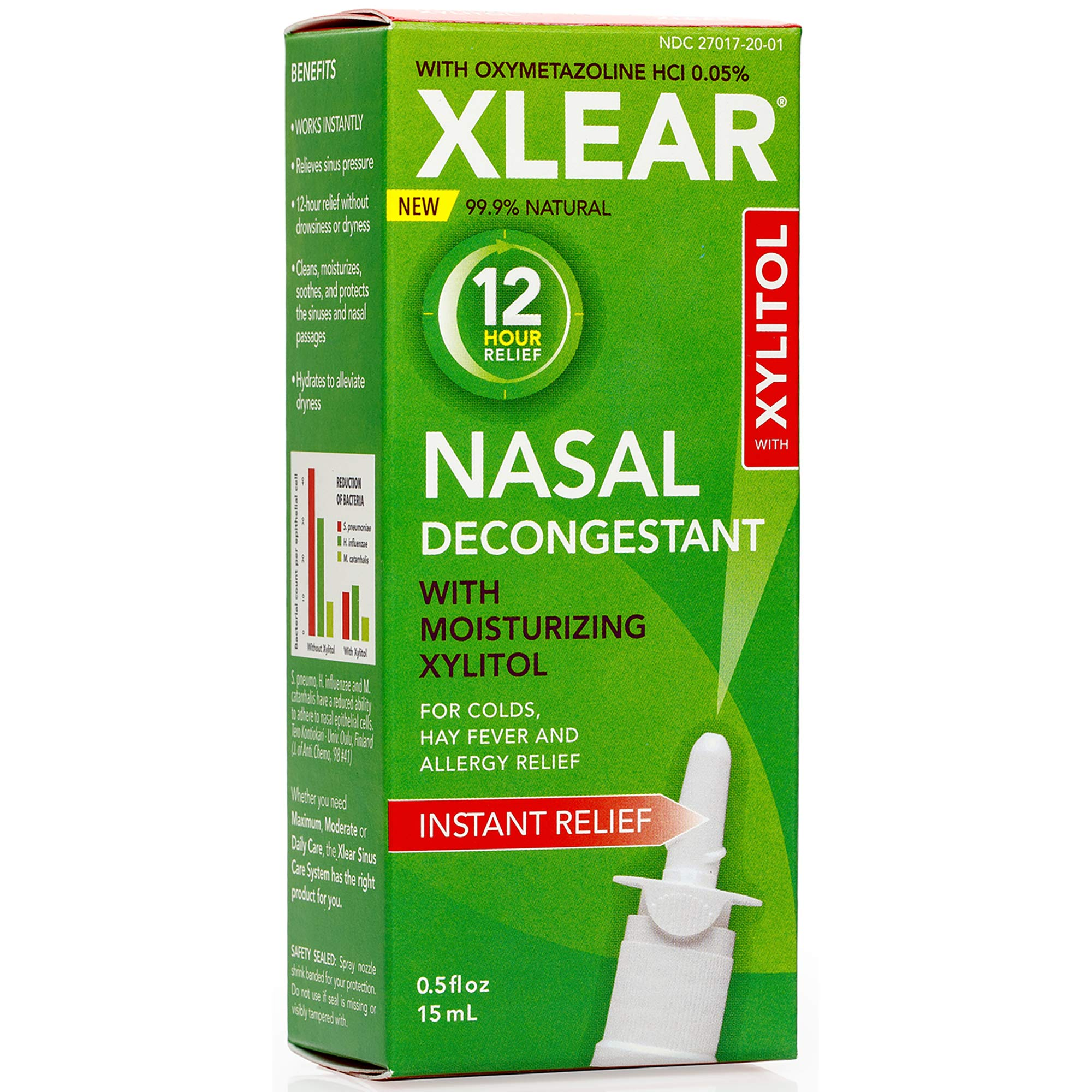 XLEAR 12-Hour Decongestant Natural Saline Nasal Spray with Xylitol & Oxymetazoline, 0.5 fl oz (Pack of 4) by Xlear