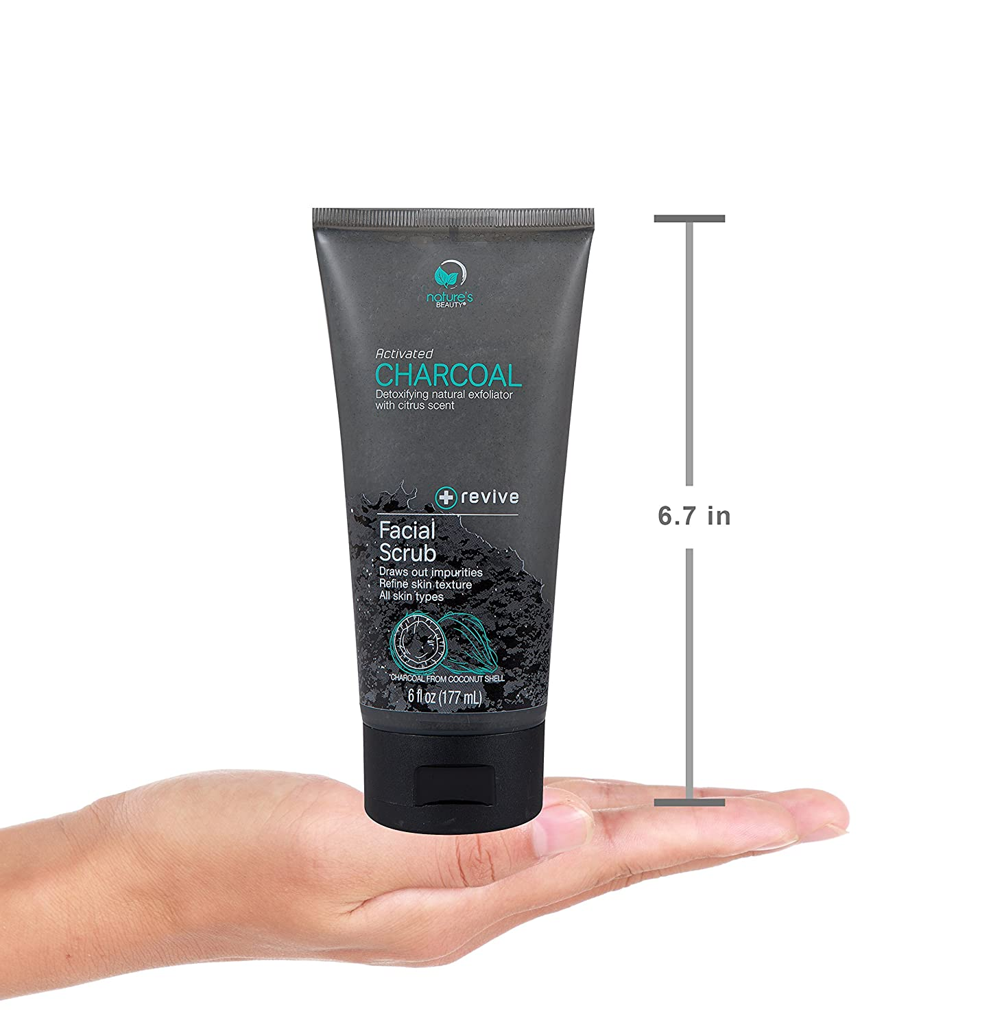 Nature's Beauty Activated Charcoal Facial Scrub, Made in USA, Detoxifying Natural Exfoliator with Citrus Scent, Revives and Refines Skin, Charcoal from Coconut Shell, For Men and Women - 6 fl oz: Beauty