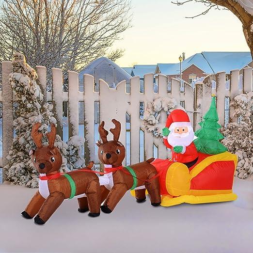 HOMCOM - Trineo Hinchable para Navidad, diseño de Papá Noel ...