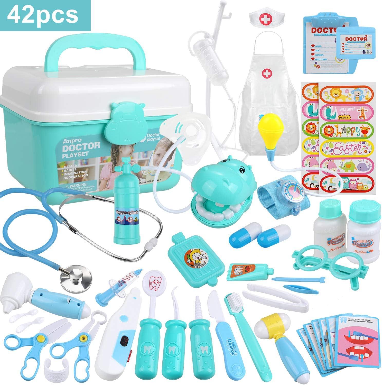 Anpro 42 pcs Kit Maletin de Doctor y Enfermera,Juegos de Niños,Kit de Dentista con Estetoscopio y Abrigo,Regalo para Niños en Fiestas,Cumpleaños,Navidad, Juego de Roles del Doctor