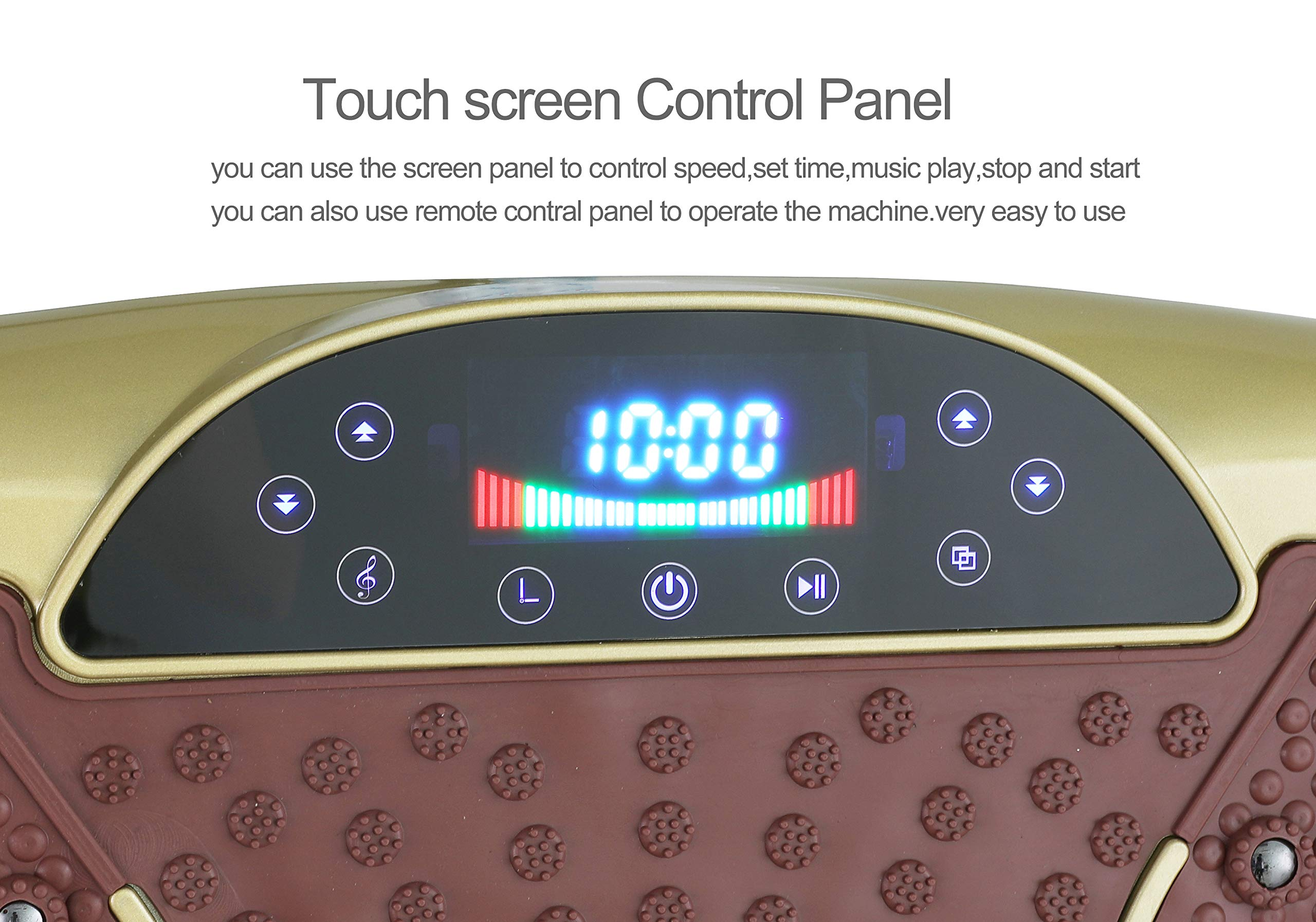 TODO Vibration Platform Power Plate Wholebody Vibrating Massager- Remote Control/Bluetooth Music/USB Connection(Gold-Smile) by TODO (Image #4)