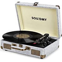 Souidmy Vinyl Bluetooth Record Player with Speakers, 3-Speed, AUX/Headphone/RCA Port