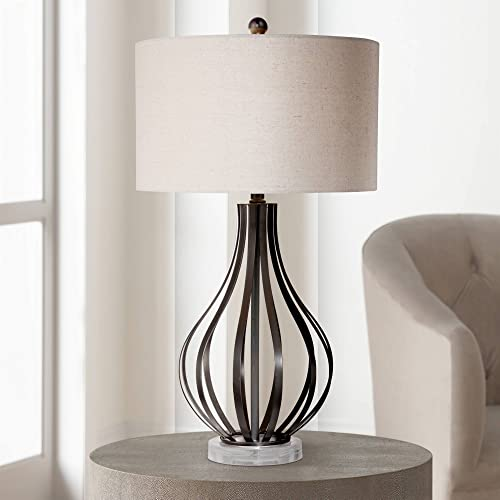 Hyden Modern Table Lamp Bronze Metal Open Gourd Off White Fabric Drum Shade for Living Room Family Bedroom Bedside – Possini Euro Design
