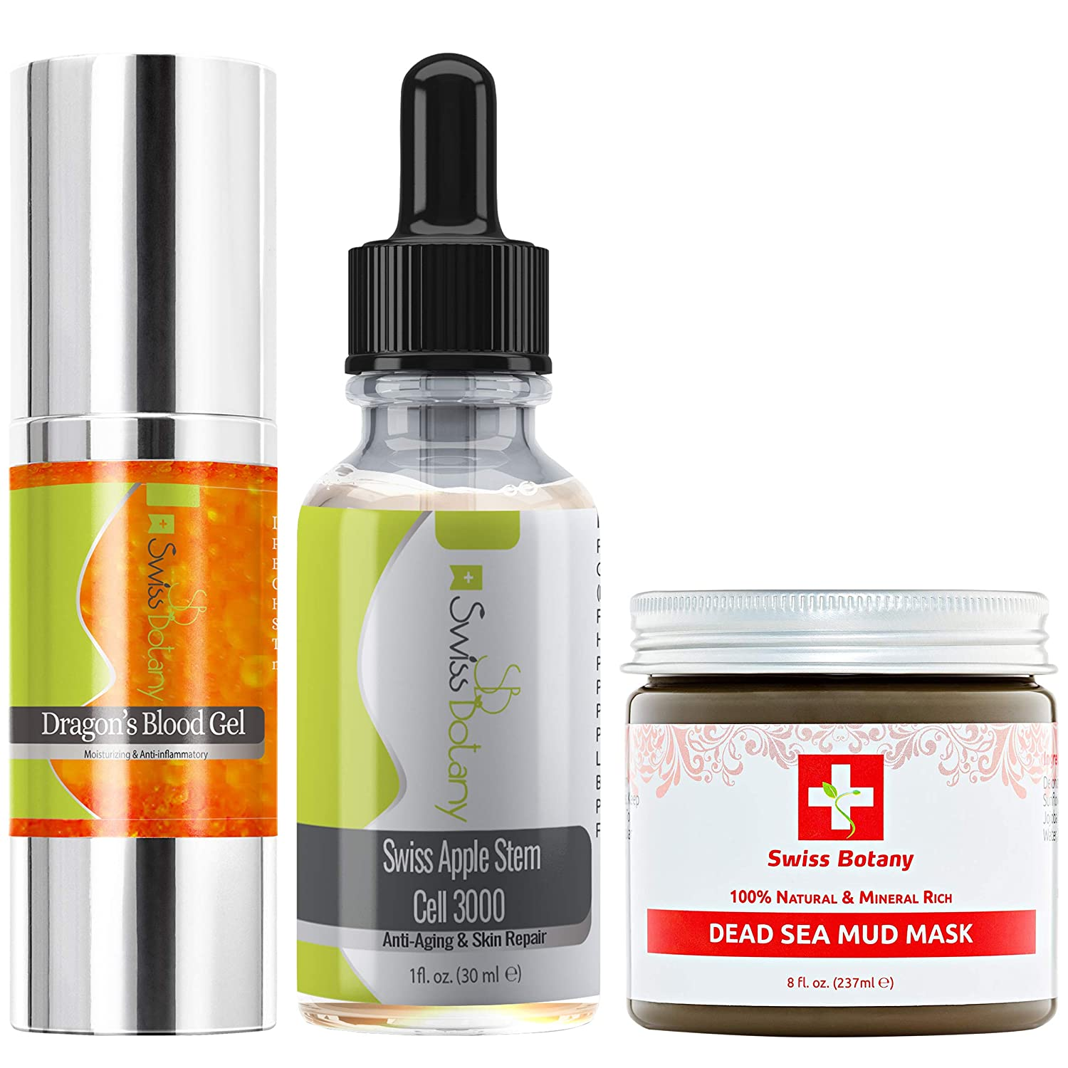 Swiss Apple Stem Cells Dragons Blood Gel Dead Sea Mud Ultimate Trio Pore Reducer ideal Skin Tightener for Fine Lines and Wrinkles, Sculpts Facial Contours, Acne, Oily Skin