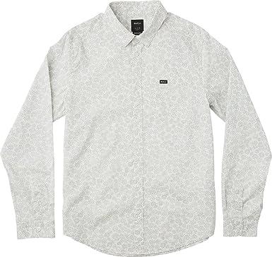RVCA Hombre M556NRCL Manga Larga Camisa de Botones - Blanco - X-Large: Amazon.es: Ropa y accesorios