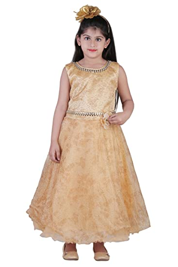 ac5ae7410a5 Qeboo Sleeveless Golden Color Dress for Your Daughter  Amazon.in  Clothing    Accessories