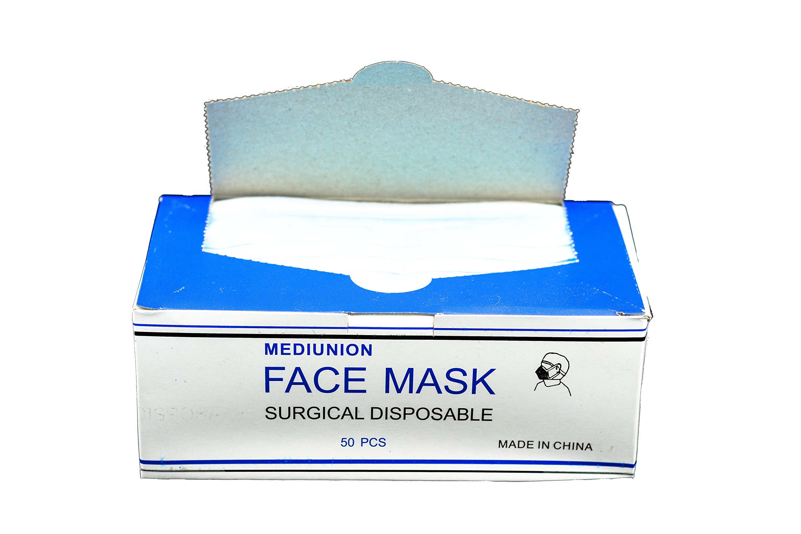 DISPOSABLE EAR LOOP FACE MASK MEDICAL DENTAL 1 CASE OF 2000 MASKS (PFE Class I Flammability 80 mmHg Fluid Resistance to Blood) by P&P Medical Surgical
