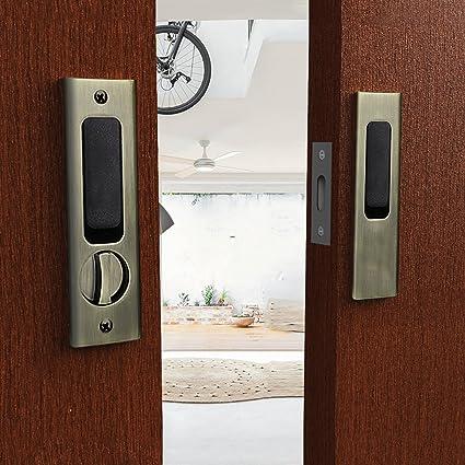 Merveilleux CCJH Sliding Barn Wood Door Lock Handle Set With Keys For Double Doors  Hardware (Bronze