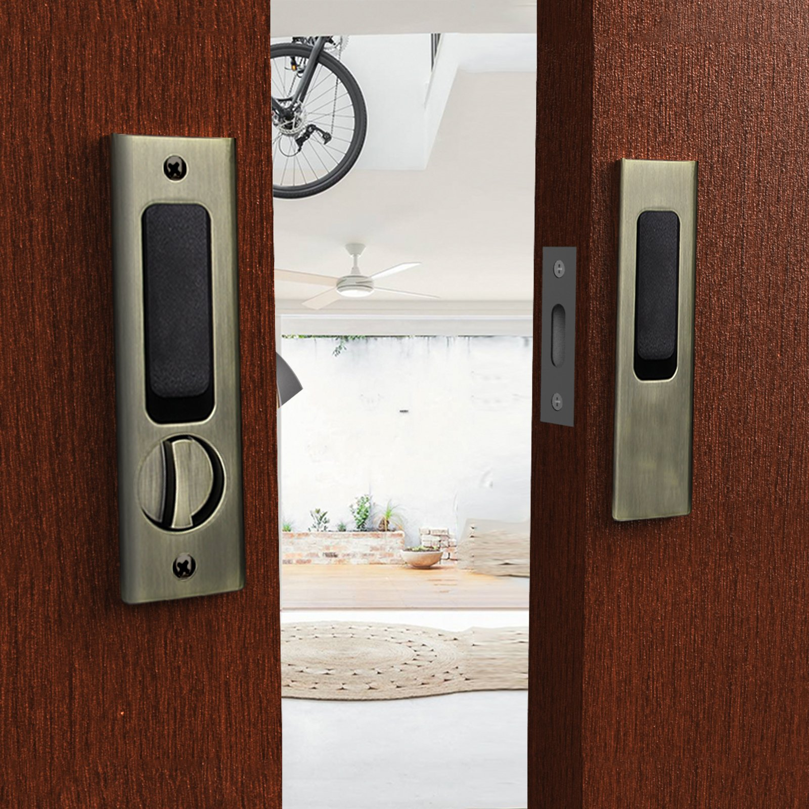 CCJH Sliding Barn Wood Door Lock Handle Set with Keys for Double Doors Hardware (Bronze)