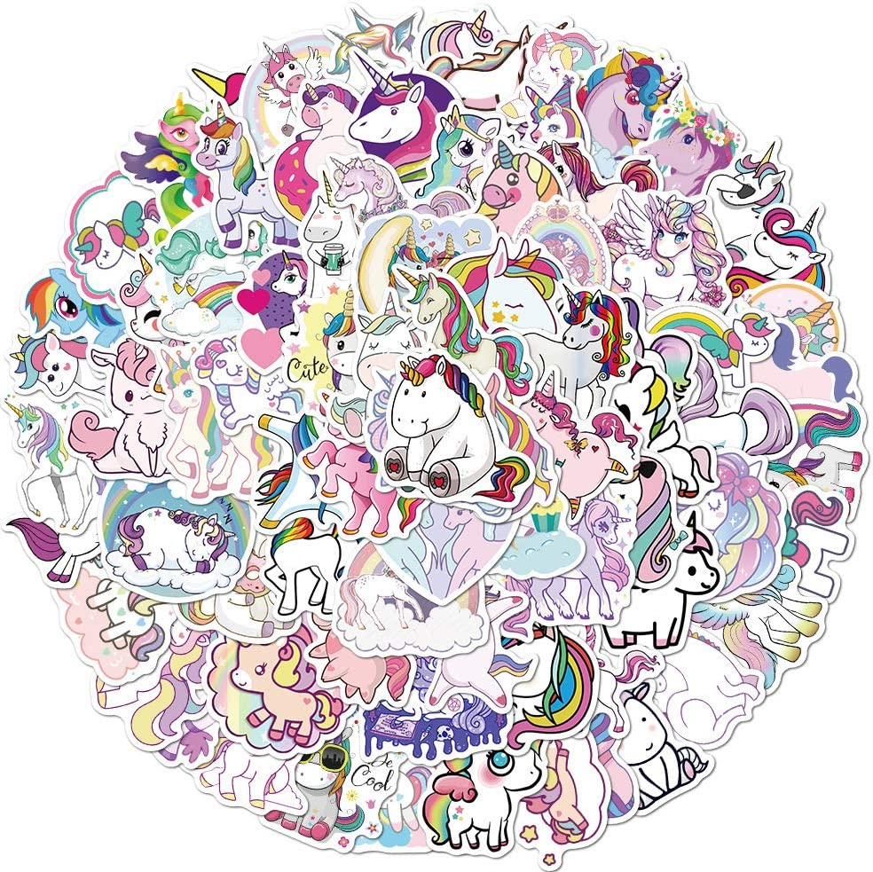100 pcs Cute Unicorn Stickers Waterproof Vinyl Stickers for Water Bottles Laptop Stickers Cars Motorbikes Bicycle Skateboard Luggage Phone Ipad Graffiti for Girl Teens Adults (100 PCS)