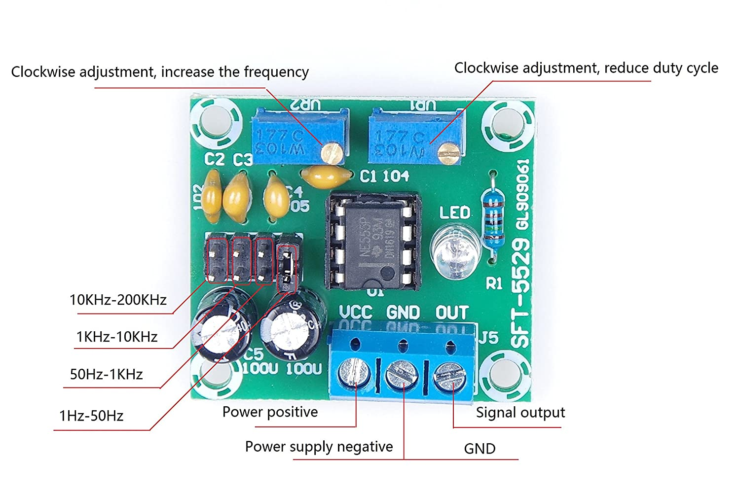 Knacro Ne555 Pulse Module Square Wave Rectangular 555 Timer Frequency And Duty Cycle Calculator Signal Generator Adjustable Dc5 15v Output 1hz 50hz