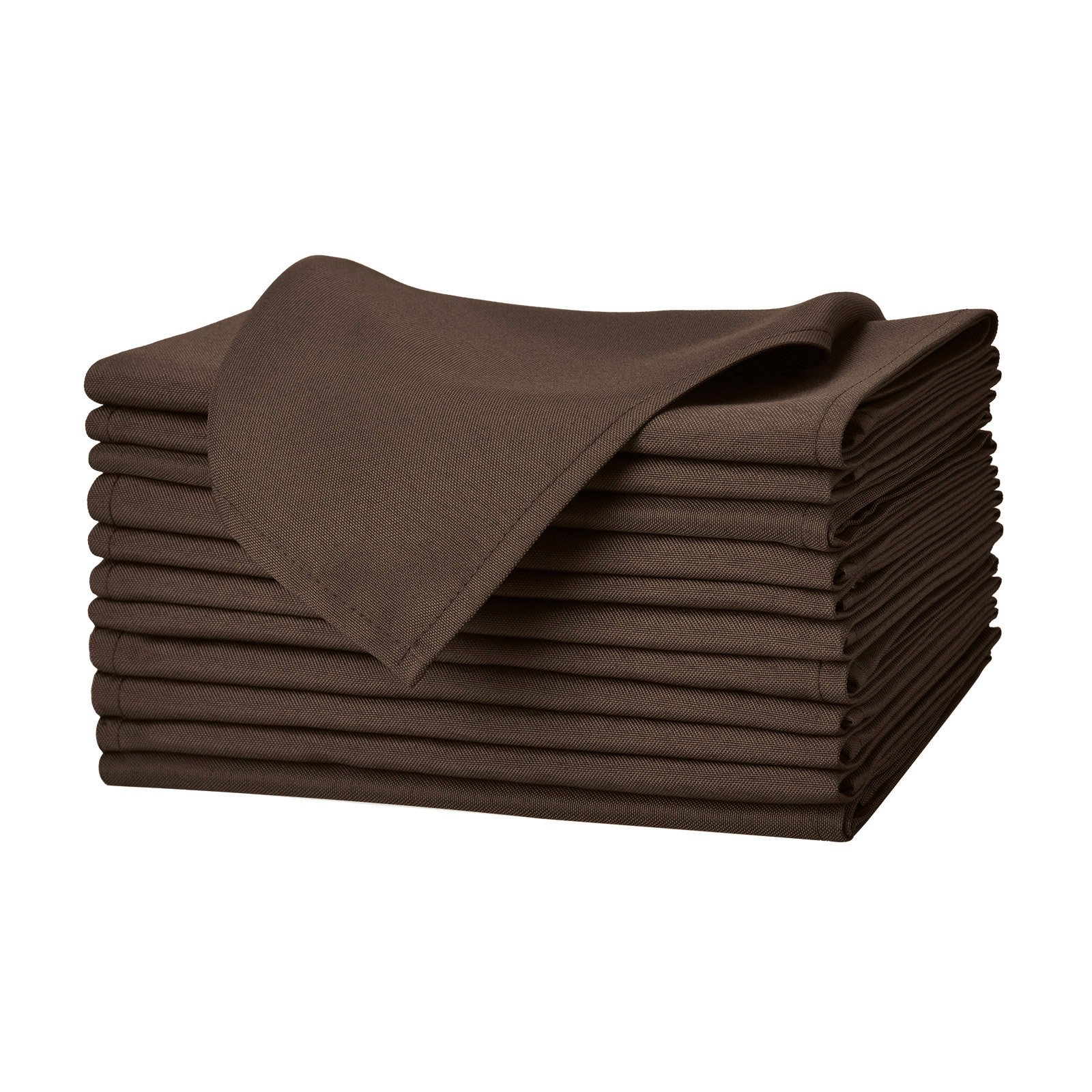 Remedios Set of 12 Oversized 17x17 Polyester Cloth Napkins Wedding Restaurant Banquet Home Dinner, Chocolate