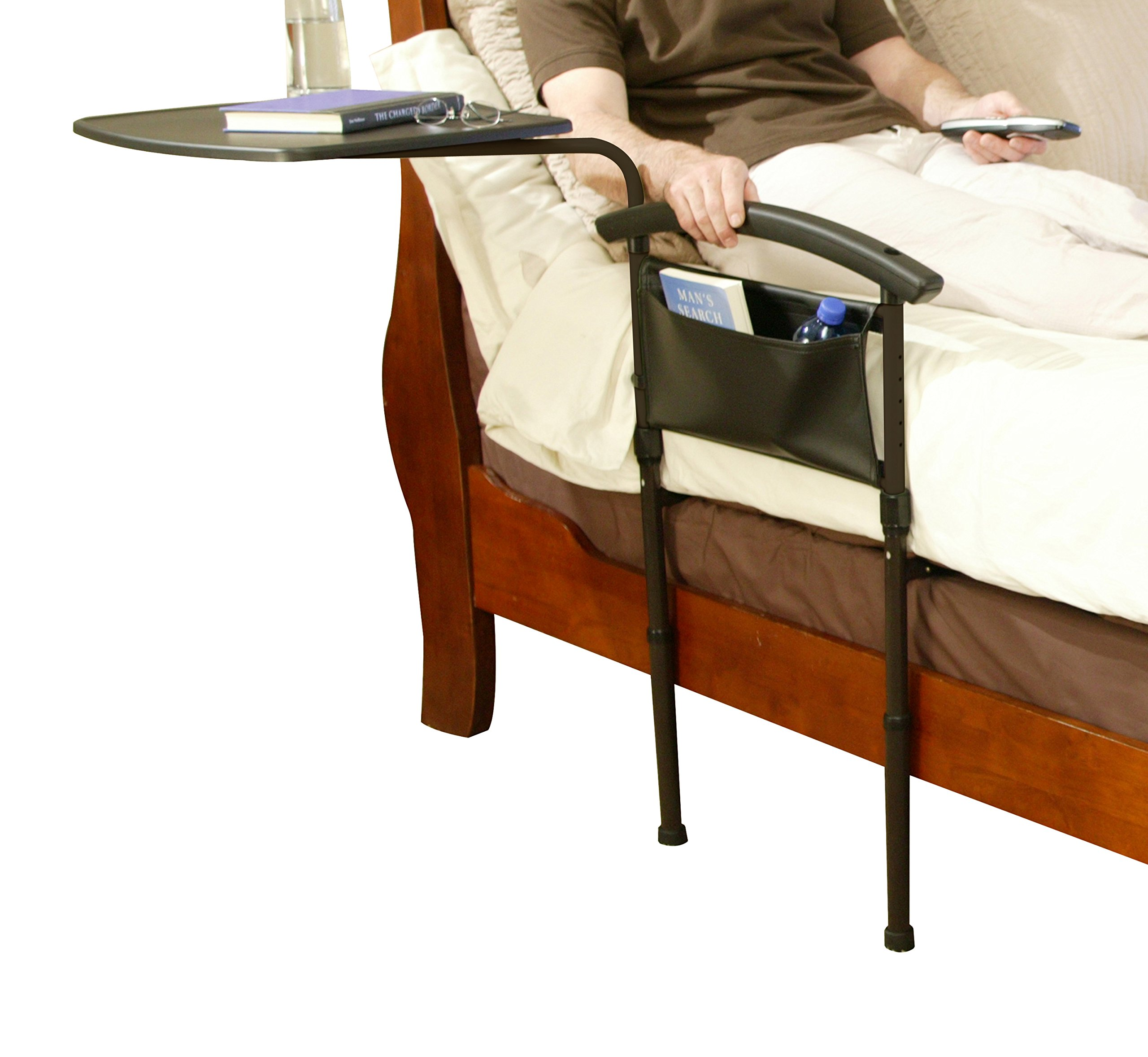 Stander Independence Bed Table - Home Adult Safety Bed Rail & Support Handle + Overbed Table Swivel Tray & Pouch by Stander