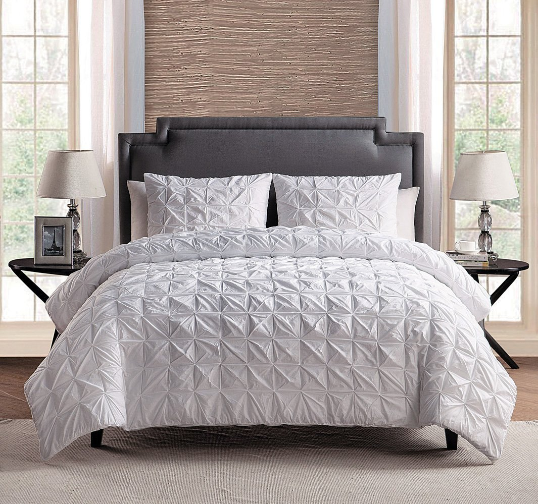 100% COTTON 3 - Piece Soft Solid WHITE Pinch Pleat Duvet Cover Set FULL / QUEEN Size Bedding