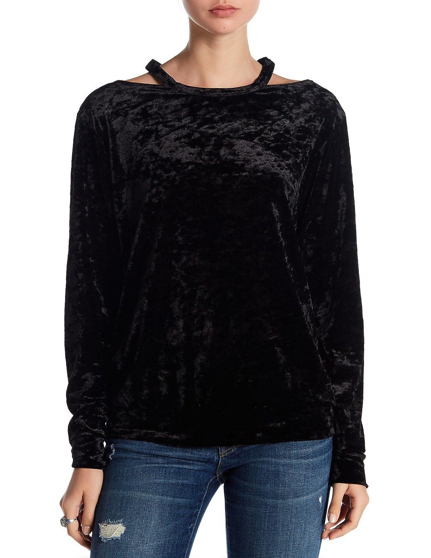 COIN1804 Crushed Velvet Cut Out Shoulder Pullover