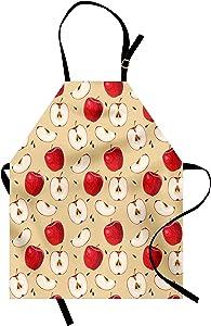Ambesonne Apple Apron, Fresh Fruit Slices ed Backdrop Pie Ingredients Vegetarian Way of Life, Unisex Kitchen Bib with Adjustable Neck for Cooking Gardening, Adult Size, Beige Cream