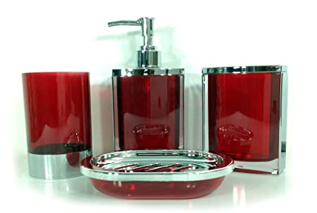 Superbe 4 Piece Stunning Bathroom Accessories Set In 2 Lovely Colours Teal And Red  (RED)