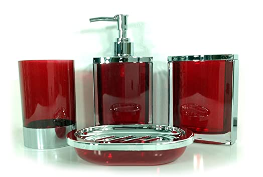 4 piece stunning bathroom accessories set in 2 lovely colours teal and red red - Bathroom Accessories Colours