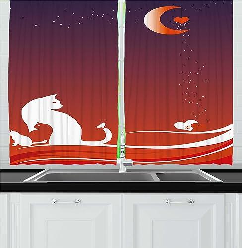 Ambesonne Cat Kitchen Curtain