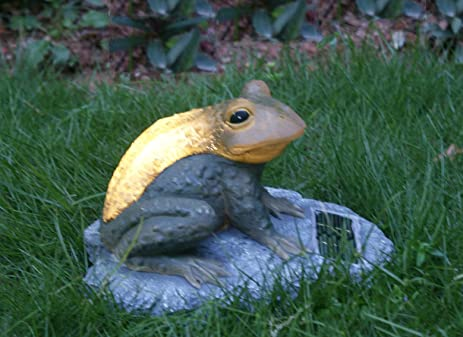 Big Toad Statue With Solar Lights, Solar Powered Garden Animal Ornaments  Lights