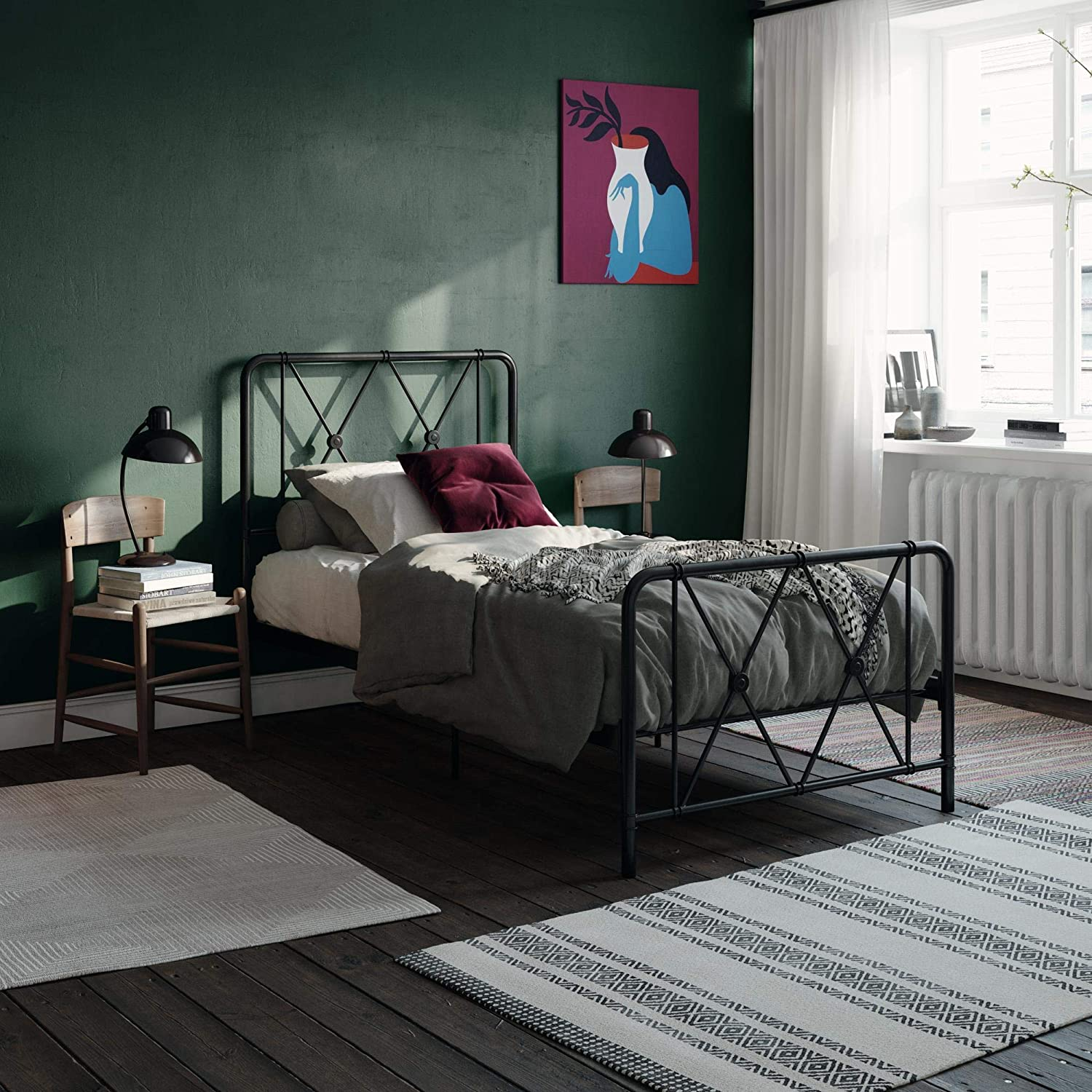 REALROOMS Ally Metal Farmhouse Bed, Sturdy Secured Steel, Adjustable Base, Twin Size Frame, Black