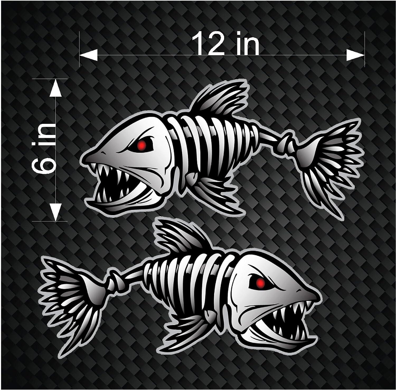 Amazon 2 Digital Skeleton Fish Vinyl Decals For Boat Fishing