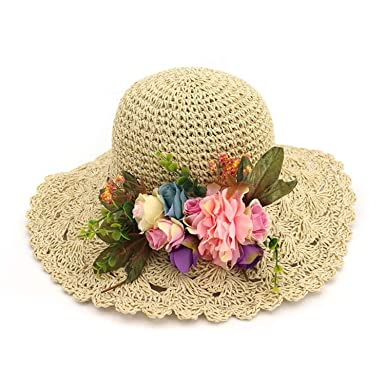 Image Unavailable. Image not available for. Color  Women Sun Hats Fashion  Lady Wide Large Brim Foldable Straw Hat Flowers Women Sunscreen Beach Cap 578fd4f323d2
