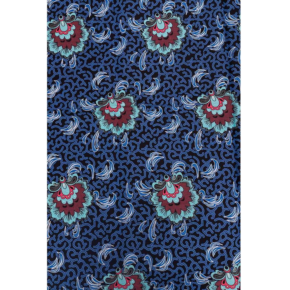 African Fabrics Suppliers Super Deluxe Wax Blue Red Green Retro Decoration  Patterns 6 Yards sw2126