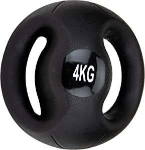 Mind Reader Medicine Ball with Handles, Strength Training, Home Fitness Core Workout, Rubber, Black, 4KG/8.8LB