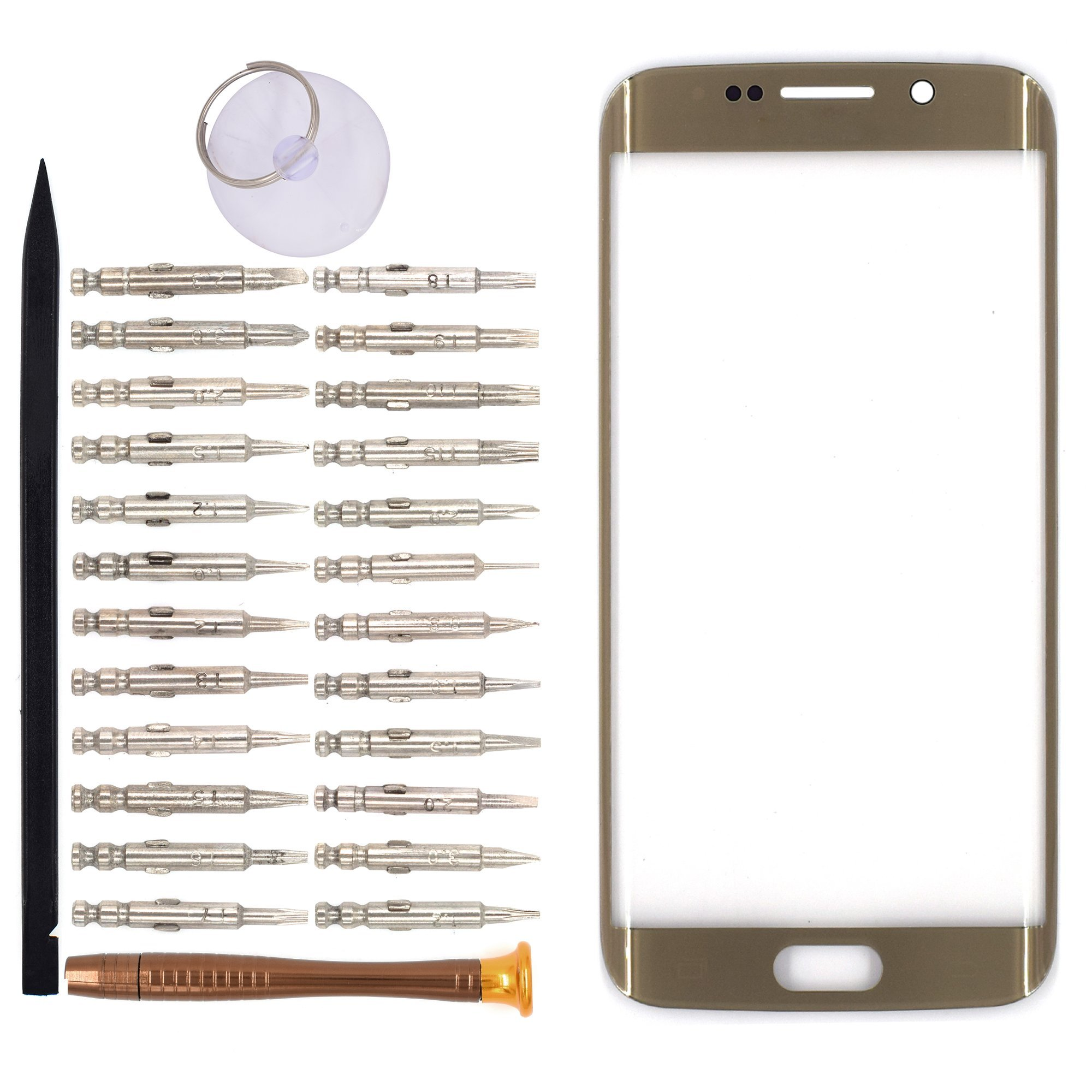Vidrio Frente para Samsung Galaxy S6 Edge dorado [GOODYITOU]