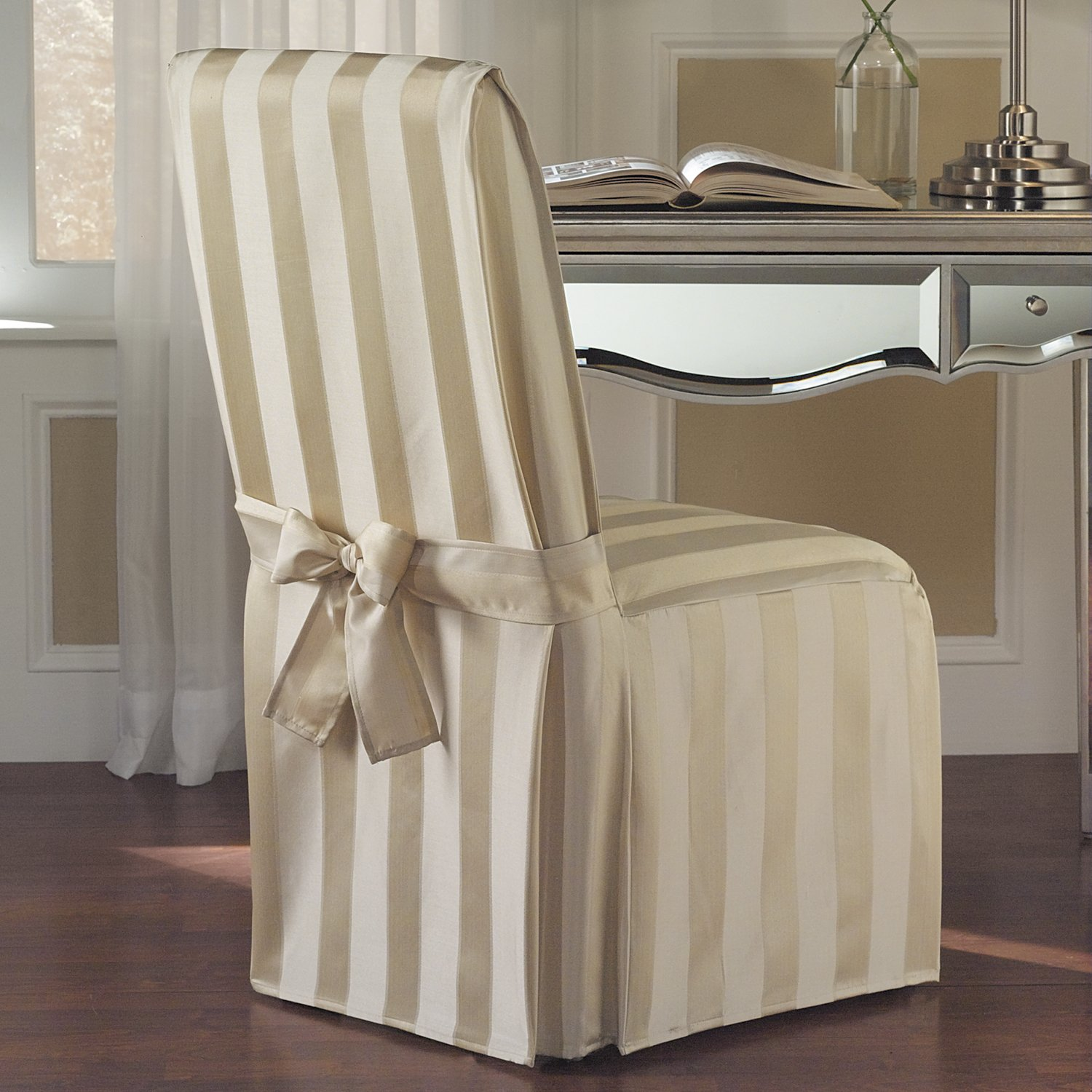 United Curtain Madison Dining Room Chair Cover, 19 by 18 by 39-Inch, Natural
