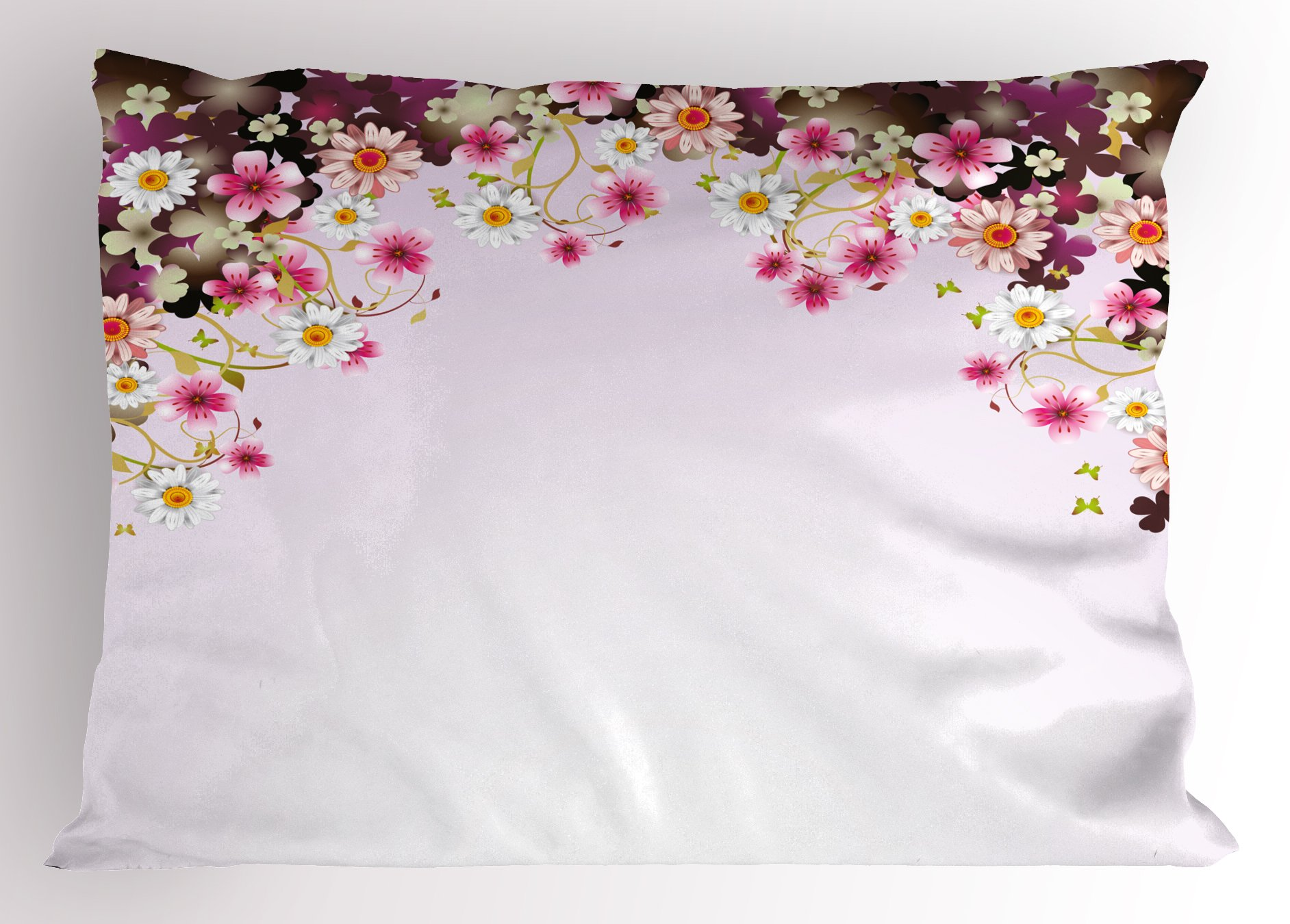 Lunarable Floral Pillow Sham, Daisy Bouquet Botany Petals with Butterfly Wedding Valentines Romance Design, Decorative Standard King Size Printed Pillowcase, 36 X 20 inches, Light Pink Purple