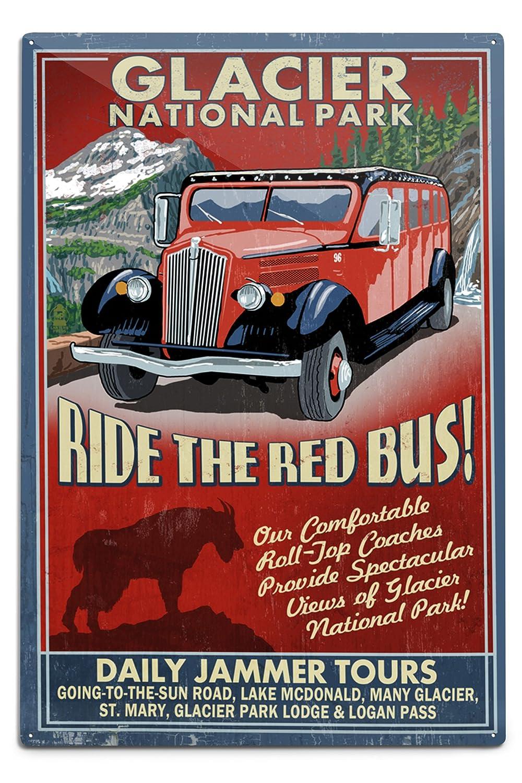 グレイシャー国立公園 – レッドJammer Vintage Sign 12 x 18 Metal Sign LANT-36884-12x18M B06Y17XZVK  12 x 18 Metal Sign