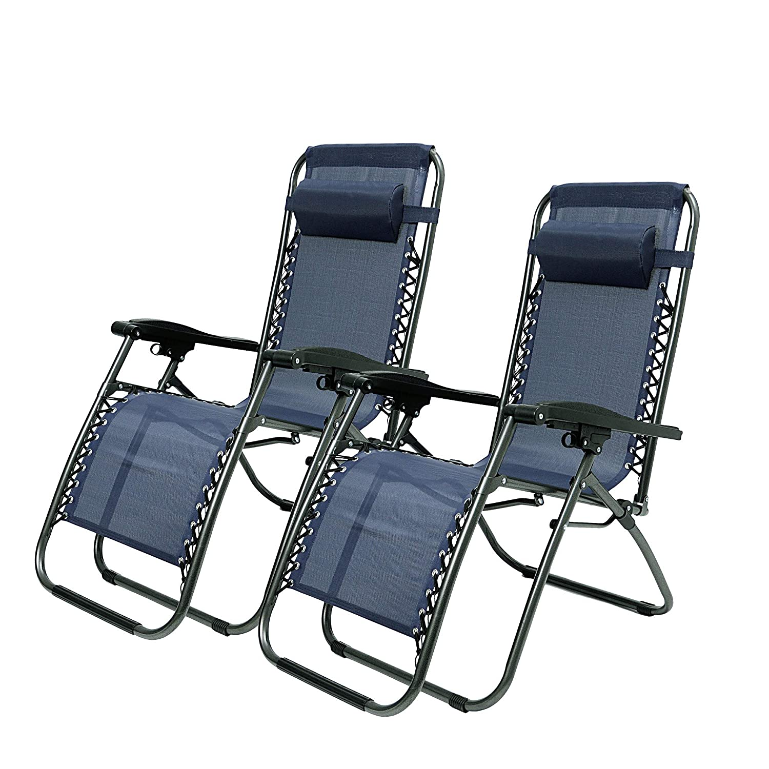 Livebest Set of 2 Adjustable Zero Gravity Chair Patio Lounge Chairs Folding Recliner Outdoor Pool Yard Beach Blue