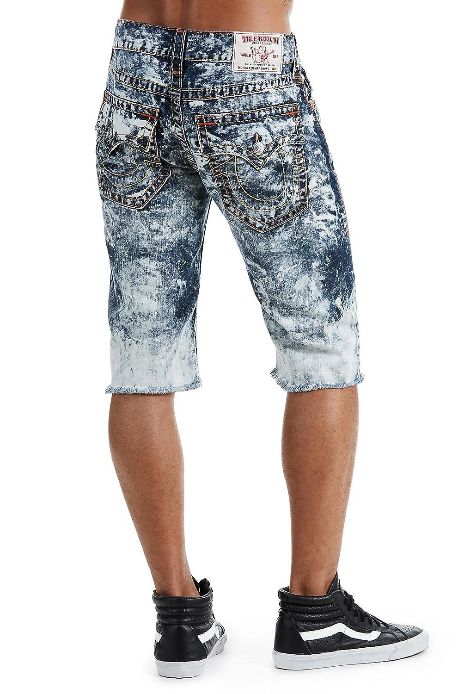 56eba7c461 True Religion Men's Straight Denim Big T Cut-Off Shorts w/Flaps in Electro  Storm at Amazon Men's Clothing store: